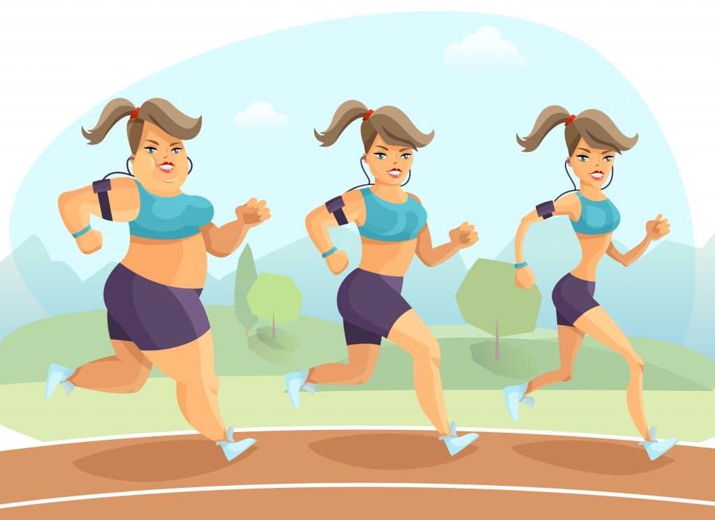donna in allenamento durante il processo di perdita dipeso