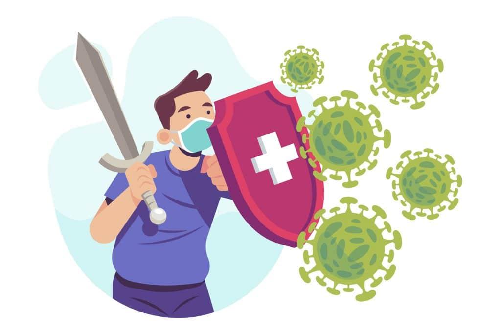 Illustrazione di persona che si difende dal corona virus con uno scudo e una spada