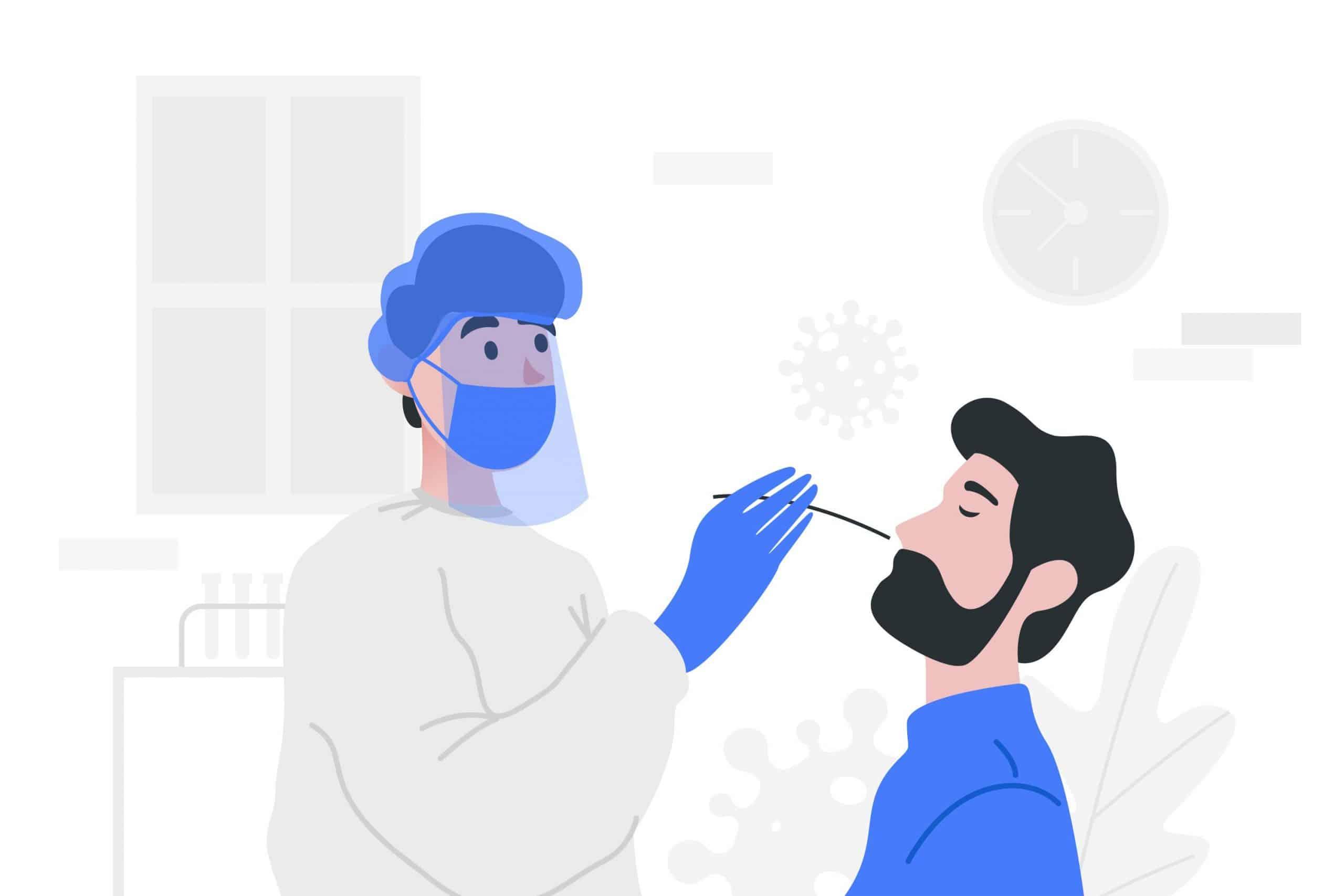 illustrazione di tampone in corso: infermiera inserisce il tampone nel naso del paziente
