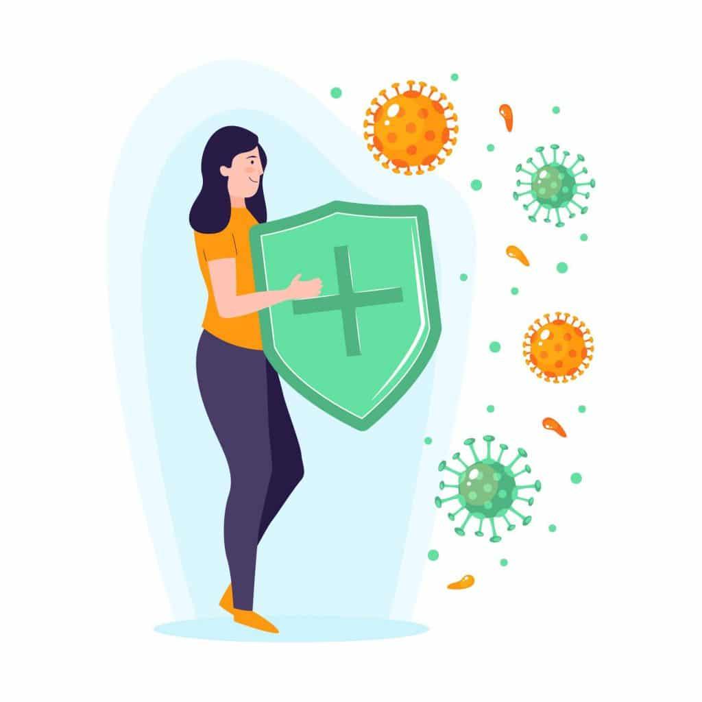 Rappresentazione di leucociti in forma di donna con scudo contro virus perché i globuli bianchi aiutano il sistema immunitario